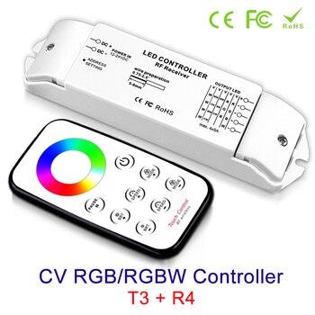 цена NEW RGB/RGBW controller led strip Ribbon Receiver T3+R4 Output Current Max 5Ax4CH DC 12v 24V & RF Wireless touch Panel Remote онлайн в 2017 году