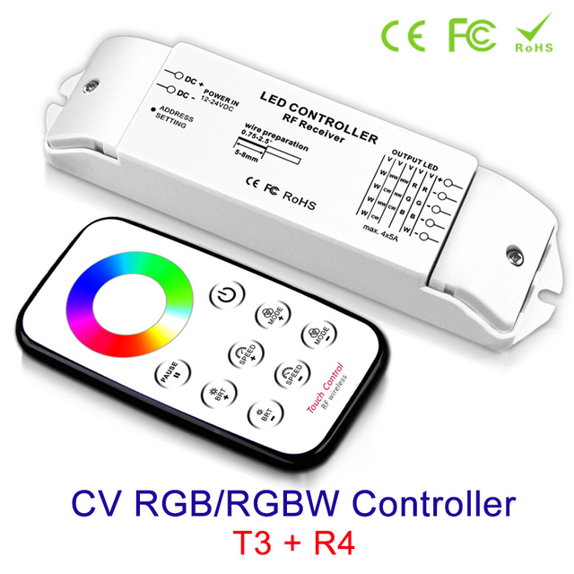 NEW RGB/RGBW controller led strip Ribbon Receiver T3+R4 Output Current Max 5Ax4CH DC 12v 24V & RF Wireless touch Panel Remote