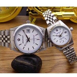 Image 5 - Reloj de cuarzo REGINALD Crown para hombre y mujer, reloj de negocios informal para hombre, calendario de acero japonés, reloj de pulsera de cuarzo resistente al agua