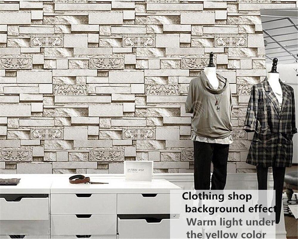 Beibehang 3D stéréo brique papier peint caractéristiques Hot Pot Restaurant hôtel vêtements magasin en relief papel de parede 3d papier peint - 2