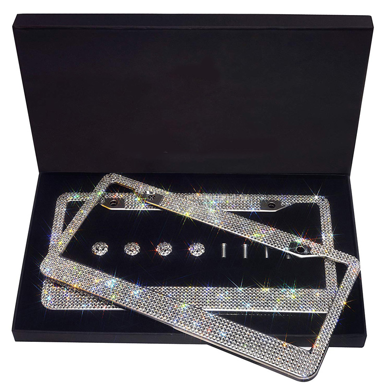 Luxury Handcrafted Bling Rhinestone Premium Crystal Car License Plate Frame 2 Pack With Gift Box For USA Canada Truck Women