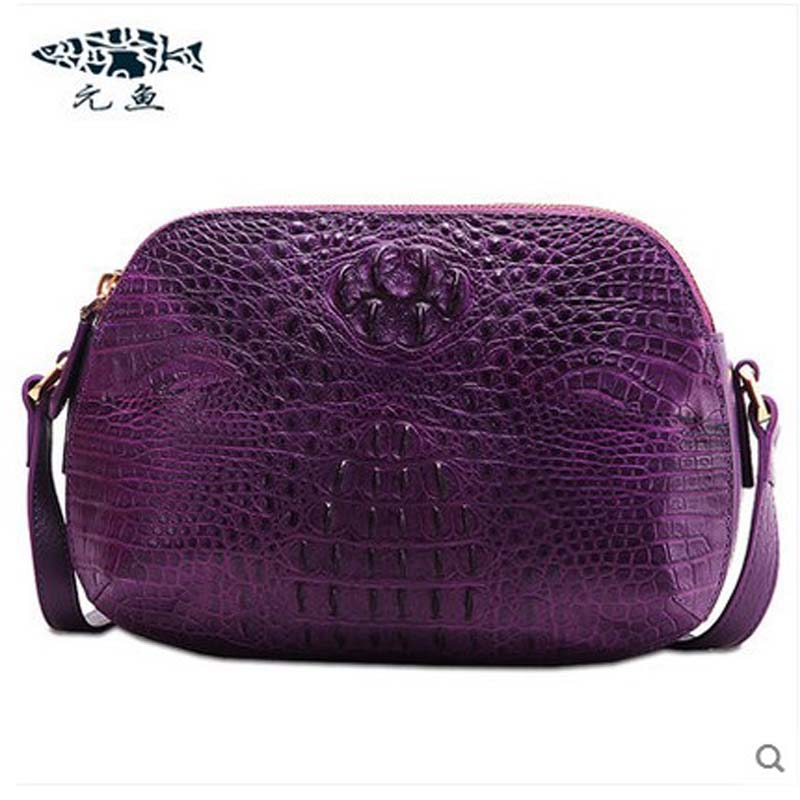 yuanyu new crocodile female bag shoulder bag leather inclined shell package female