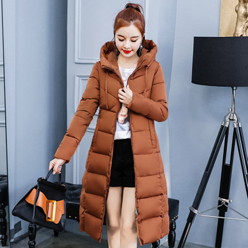 2018 Autumn and Winter New Fashion Women 39 s Solid Color Hooded Long Cotton Suit Slim Women 39 s Cotton Coat in Parkas from Women 39 s Clothing