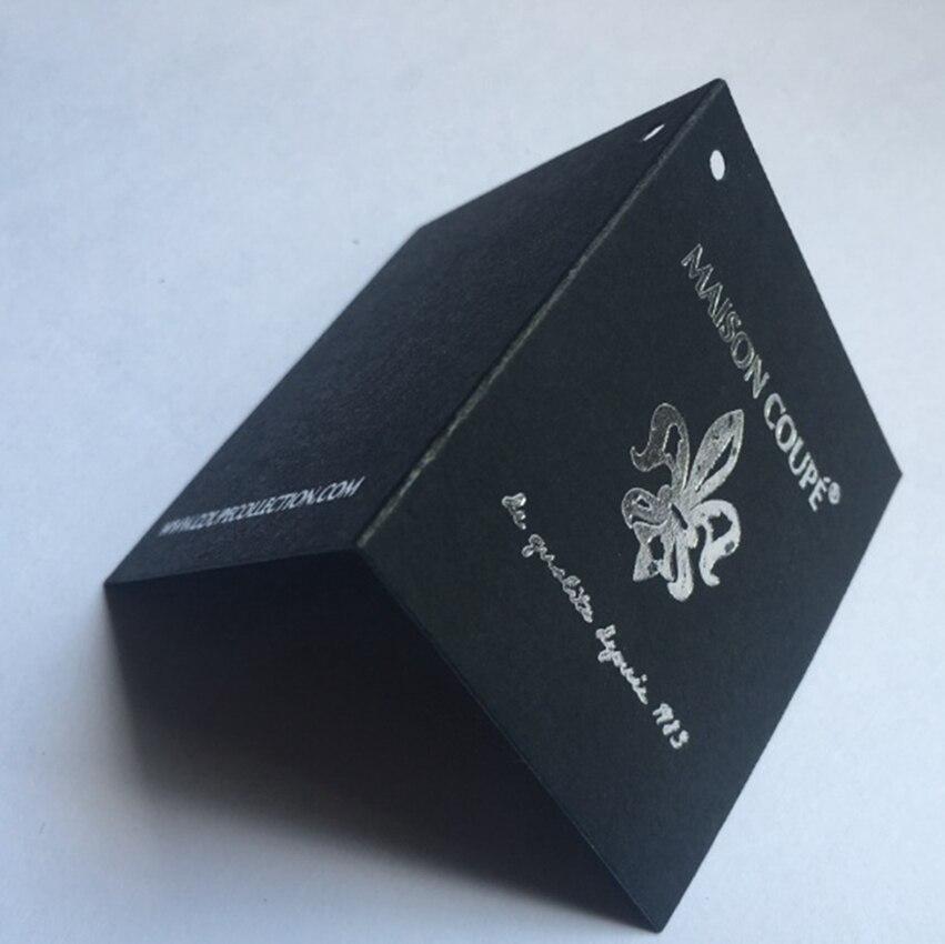 Etiquetas personalizadas marca logotipo impresión ropa etiqueta colgante papel negro plegable personalizado/personalizado etiquetas papel de plata-in Etiquetas de la ropa from Hogar y Mascotas    1