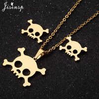 Collar con colgante de esqueleto Punk de Jisensp, conjunto de joyas de acero inoxidable para mujeres y niños, collares de Calavera, Gargantilla para hombres, regalos de Halloween, collar