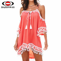 DAZONWAY Seaside Holiday Dress Sexy Strapless Strap V neck Tassel Stitching Beach Skirt Women Summer Bikini Cover Up Lady Dress