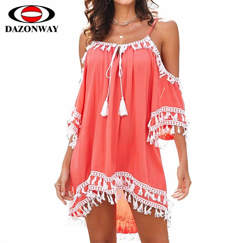 DAZONWAY robe de vacances en bord de mer Sexy bretelles sangle col en v gland couture jupe de plage femmes d'été Bikini housse robe de dame