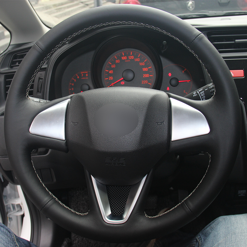 Black Natural Leather Car Steering Wheel Cover for Honda Fit 2016 2017 New Fit Honda City
