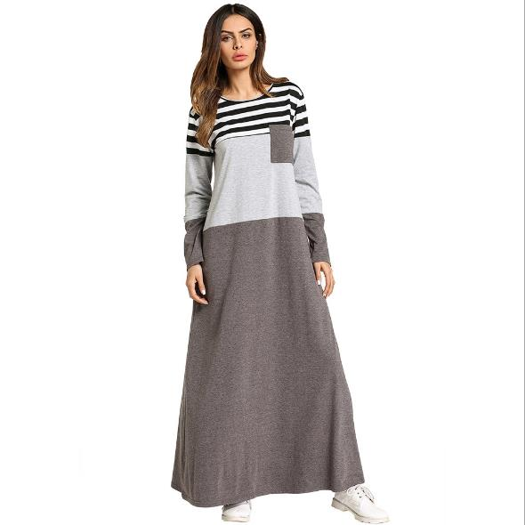 Muslim Stripe Maxi Dress Abaya Long Skirt Robe Gowns Tunic Kimono Jubah  Islamic
