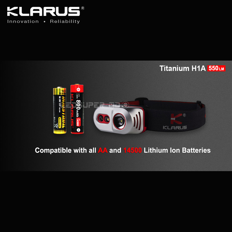 Купить с кэшбэком Best Selling KLARUS Titanium H1A CREE XP-L V3 LED Featherweight Ultra-bright AA Headlamp with 550 Lumens Output