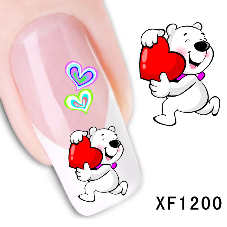 love cartoon bear design Water Transfer Nails Art Sticker decals girl women manicure tools Nail Wraps Decals wholesale XF1200 2016 cartoon design nail art manicure tips water transfer nail stickers paradise vacation desgins nails wraps collections decor