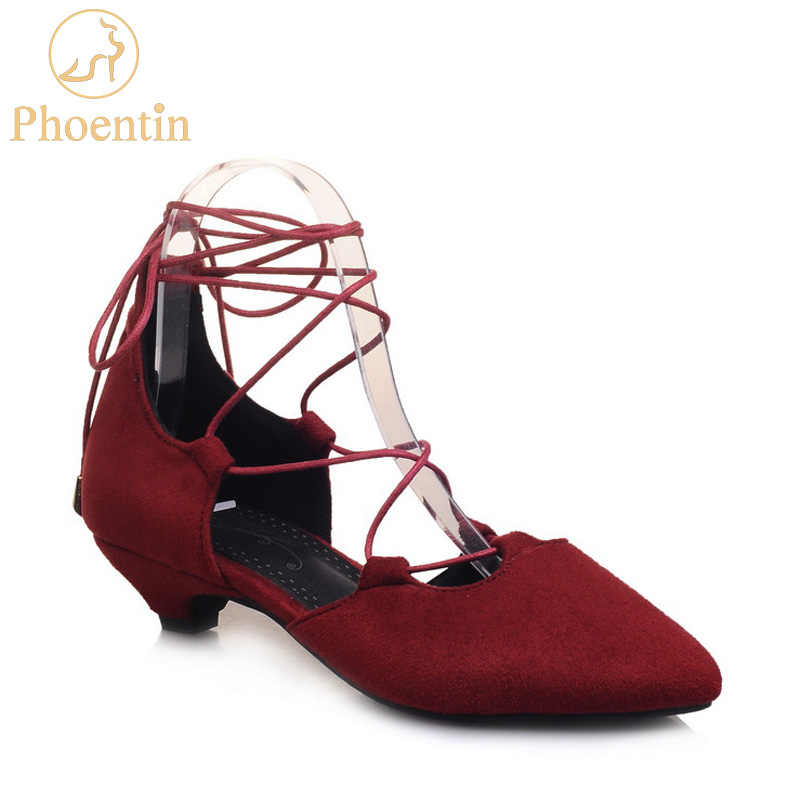 c74df56ed452 Phoentin large size red sexy sandals mid calf leg cross tied lace up female  shoes and