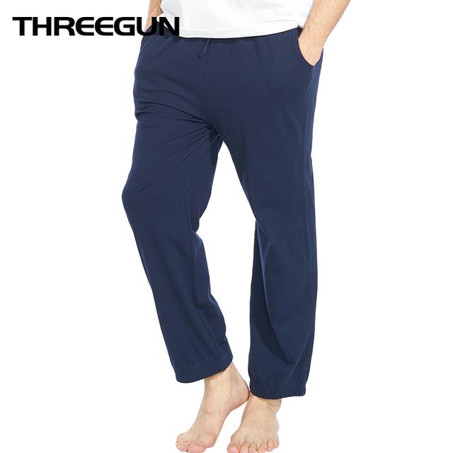 THREEGUN 100% Cotton Mens Sleep Bottoms Simple Sleepwear Pajamas Pants Comfortable Male Lounge Pants Piyamas Trousers Homme
