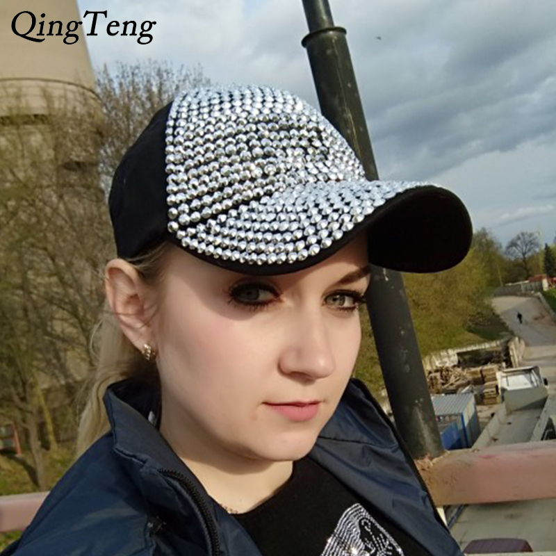 White Fashion Women'S Rhinestone Hats Luxury Female   Baseball     Cap   Bling Diamond   Cap   Swag Casquette Girl Snap Back Gorras