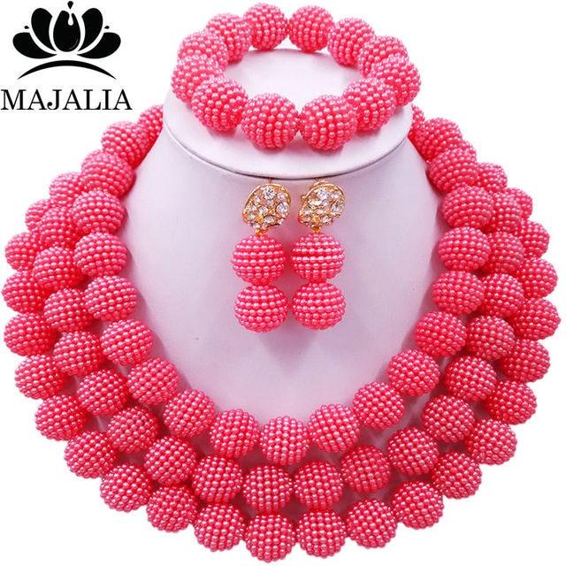 3c38d6cfee0f Conocida majalia moda nigeriana boda Africana perlas joyería conjunto coral  rosa de cristal collar de perlas