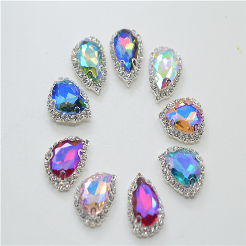 13x18mm 20x30mm AB Colors Teardrop silver Claw Rhinestones Glass Crystals buttons Strass Sewing For Dress