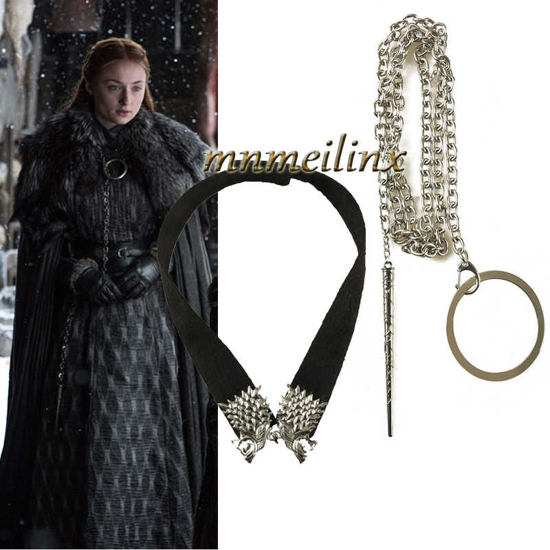 Halloween Hot Movie Cosplay From Game of Thrones Season 8 Cosplay Costume Sansa Stark Chain and Neckwear Accessories badge