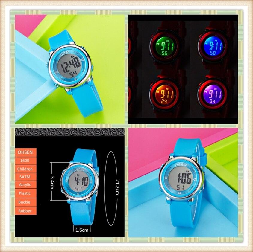 2018 OHSEN Brand Digital LCD Kids Girls Fashion Wristwatch Cute Girl Rubber Strap 50M Waterproof Child Watches Alarm Hand Clocks (34)