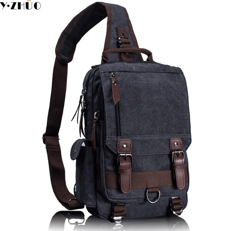 Cow Leather Man Backpack 100 Genuine Bag High Quality Hand Tas Organizer Tangan Pria Wanita Kanvas Selempang Untuk Retro Kulit Militer Kurir Dada Tunggal Bahu Sling