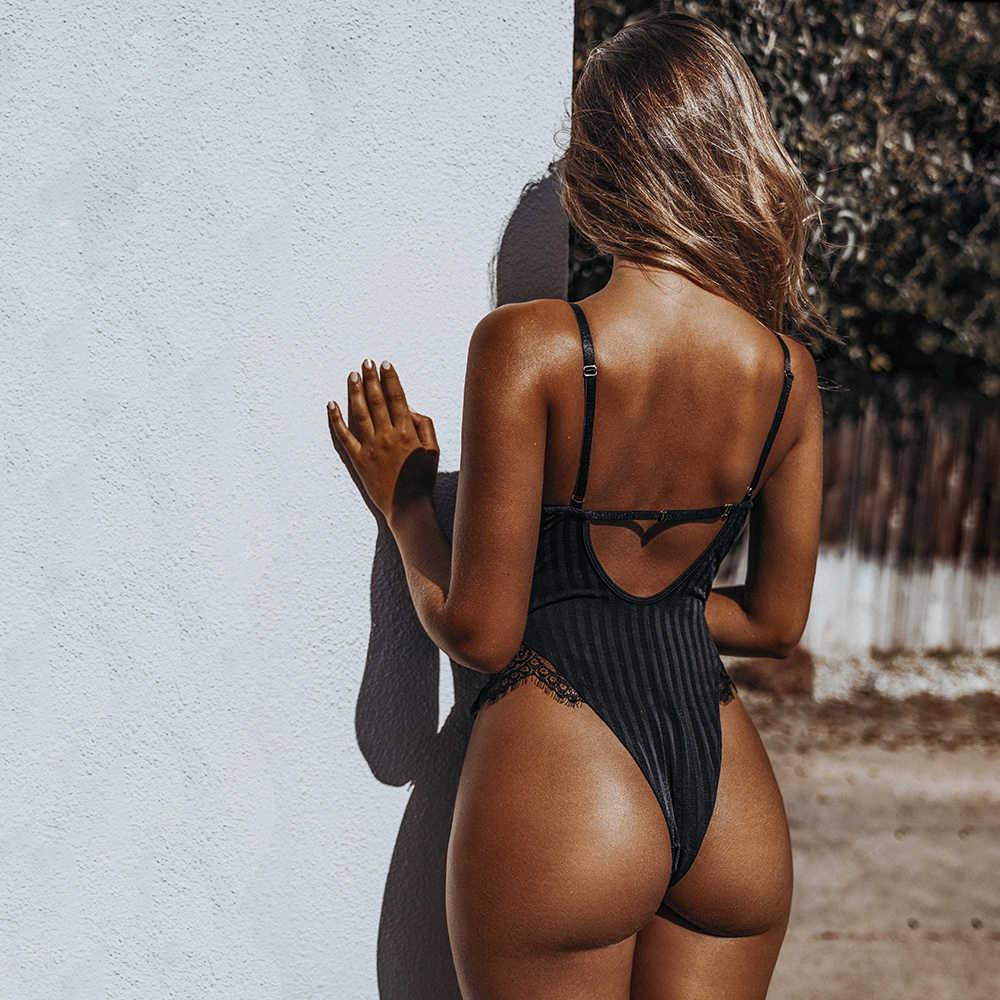 Sexy Halter Lace Body para mujer ajustado Hollow Out Black mono mameluco Body femenino monos malla Backless Playsuits 2018 blanco
