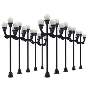 LNH37 10pcs Model Railway Lamppost lamps Street Lights HO OO TT Scale LEDs NEW Three-heads Lamp