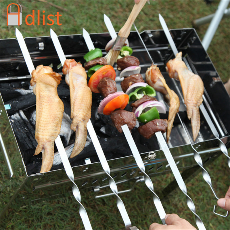Stainless Steel Skewers Flat Meat BBQ Skewers Forks Outdoor BBQ Barbecue Grill Accessories Roasting Fork outdoor picnic