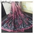 2017 de Alta Calidad de Seda Suave Bufanda de Las Mujeres de Lujo de la Marca 100% Pañuelos de seda para Mujer de Encaje de Flores Impreso Señoras de La Bufanda Foulard femenino