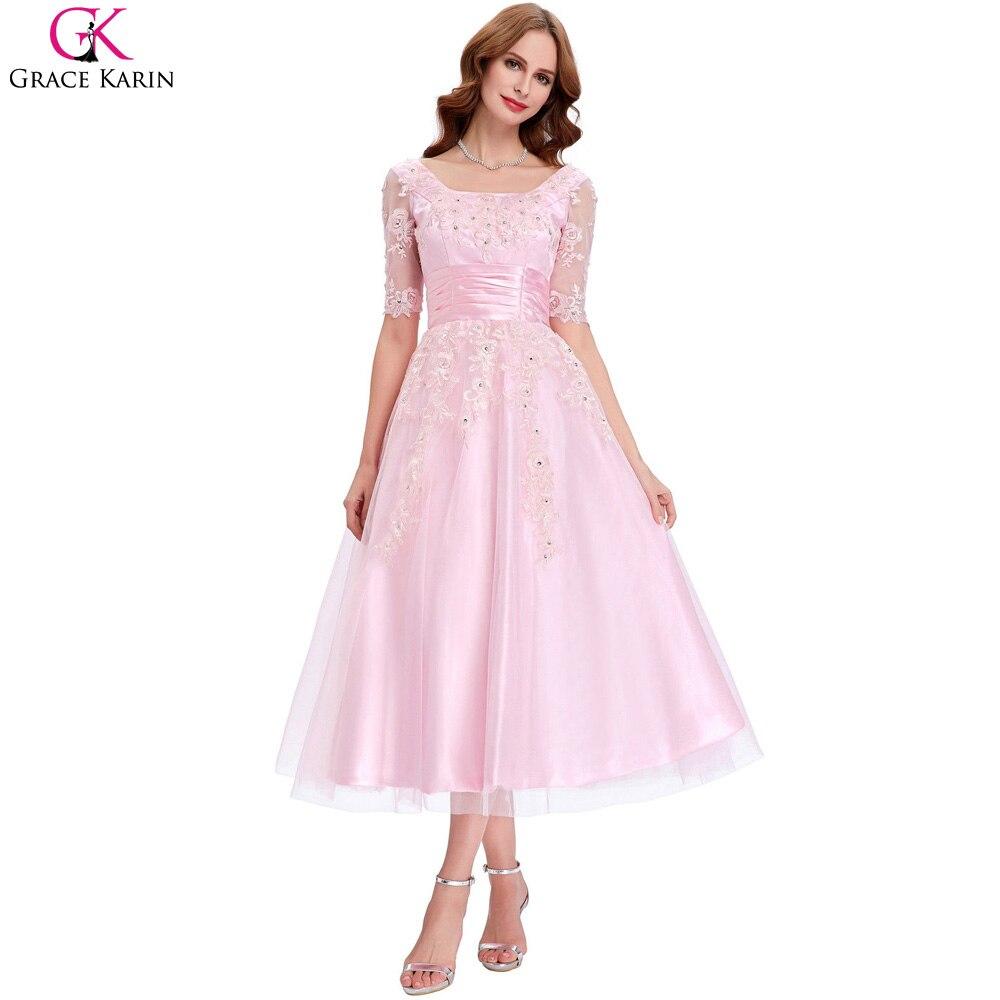 Grace karin 2017 más el tamaño medio de la manga vestidos de noche ...