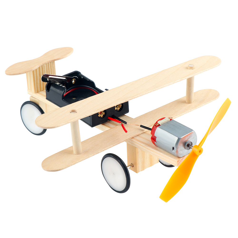 Creative Wooden DIY Wind Power Electric Glide Plane Model Kit Physical Science Experiments Tool Preschool Educational Toy image