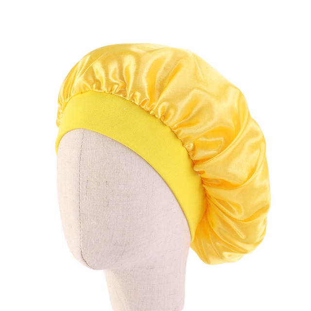 New kids Faux Silky Bonnet Cap Solid Color Turban Chemo Hat girl's Wide Elastic Band Solid Night Sleep