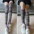 2016 Nueva Alta Del Muslo Calcetines de Invierno de Las Mujeres Medias de la Alta Calidad Sobre La Rodilla Calcetines de Lana Despojado Calcetines Largos
