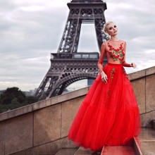 Fashion Red Long Evening Dresses 2019 Sleeve Embroidery o Neck Tulle Womens Pageant Gown For Formal Party vestido