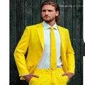 Custom Made Moda Amarelo Um Botão Notch Lapela Do Noivo Smoking Dos Homens Ternos de Negócio Casual Masculino Cor Sólida (Jacket + calça + gravata)