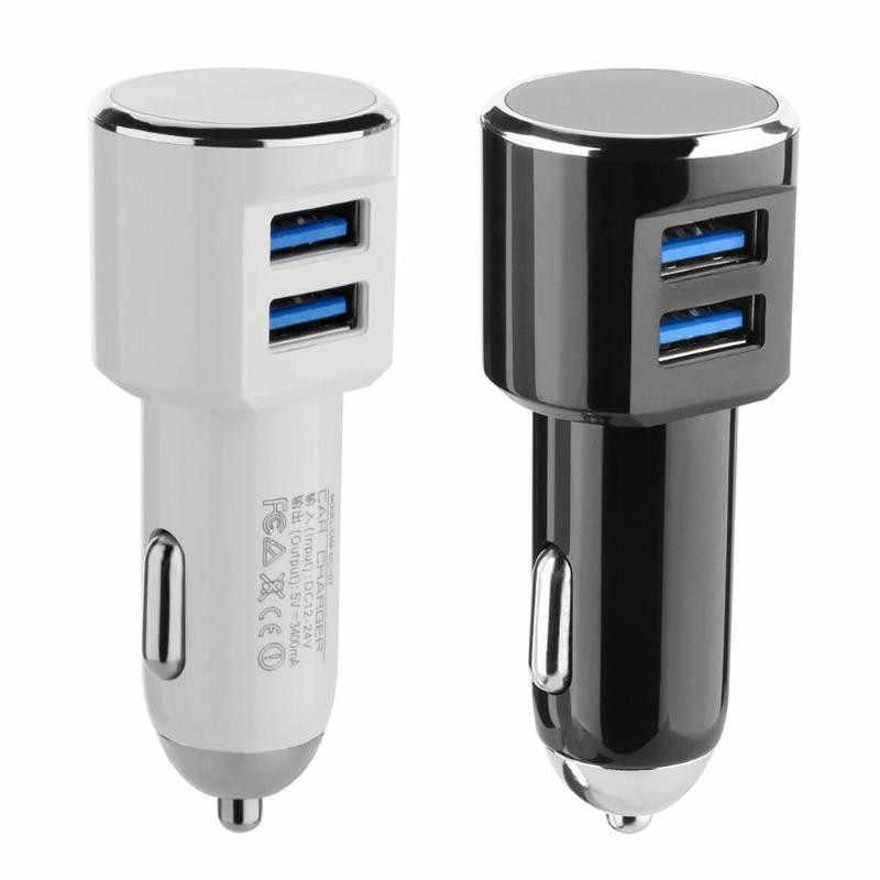 Cargador de coche Dual adaptador de cargador de coche USB 5V Mini de Metal cargador de coche de móvil cargador USB de coche Carga automática de 2 puertos 24W para el iPhone de Samsung