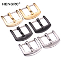 HENGRC Metal Watch Band Buckle 18 20 22 24mm Men Watchband Strap Silver Black Stainless Steel Clasp Accessories
