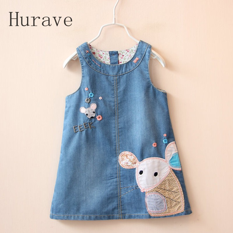 Hurave Kids baby girls dress cute mouse embroidery jeans 2017 spring autumn kids children clothes outwear - Store store