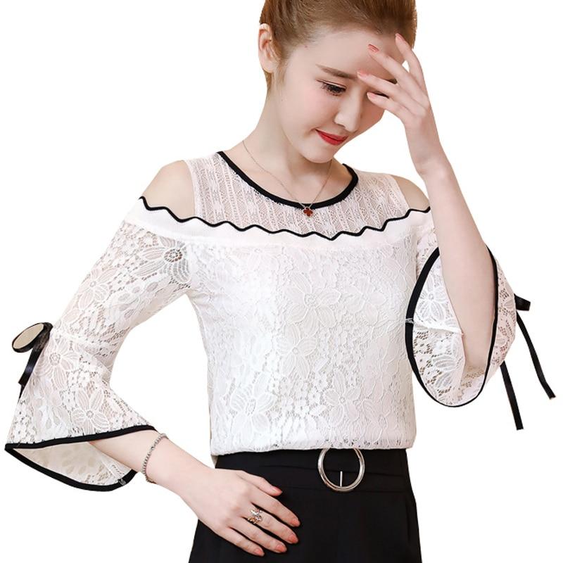 2018 Nueva blusa bordado de flores camisa Blusas de las mujeres blusa - Ropa de mujer