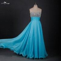 Rse624 блестящие синие длинные Выпускные платья 2015 с прозрачными стразами Быстрая доставка