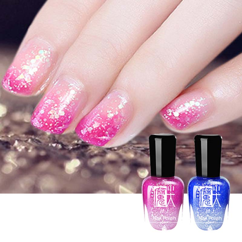 Hot Sale 3d Nails Art Long Lasting Shining Glitter Nail Gel Polish Magic Color Tamperature Change Mirror Eamaltes In From Beauty