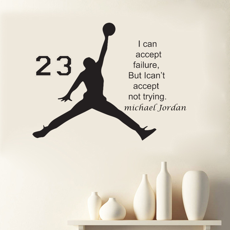 1pcs Michael Jordan Basketball Inspirational Wall Sticker Quotes Vinyl Wall Decals Art Kids Children Room bedroom Decoration