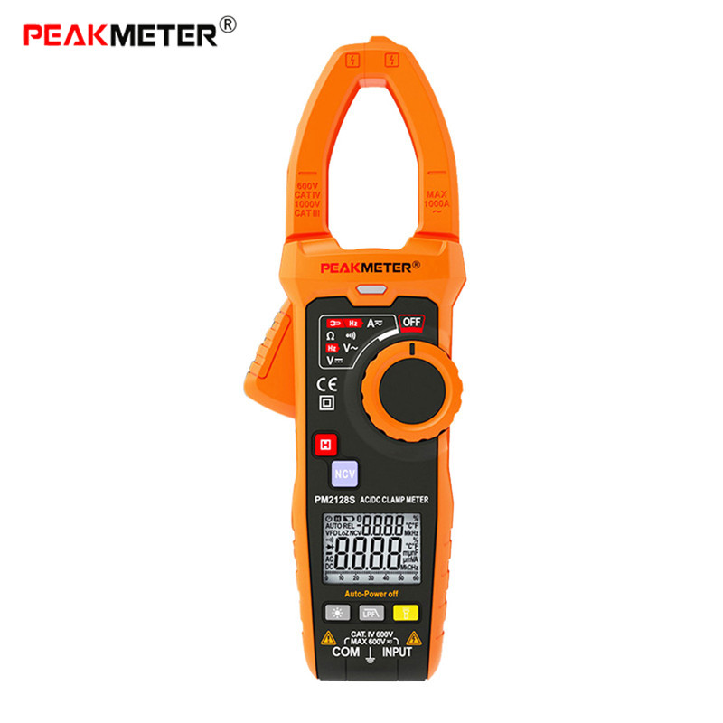 PEAKMETER PM2128S Smart 6000 Counts Digital Clamp Meter Frequency Resistance LPF Non Contact Voltage Continuity Multimeter 1 pcs mastech ms8269 digital auto ranging multimeter dmm test capacitance frequency worldwide store