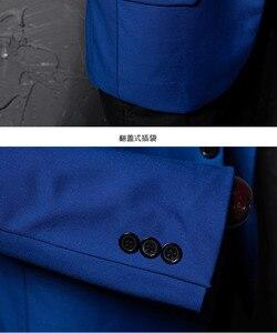 Image 5 - PYJTRL ブランドファッションカジュアルファッションレジャースーツのジャケットのコートロイヤルブルー男性ブレザースリムフィットデザイン Masculino ステージ衣装歌手