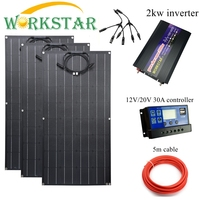Workstar 100w Flexible Solar Panel 3pcs ETFE Panel Solar 100W 12V Solar charger 300W solar system with 2kw inverter