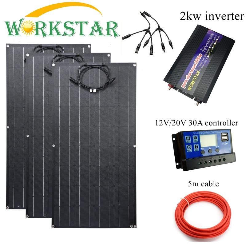 Workstar ETFE 100 Вт Гибкая солнечная панель 3 шт. ETFE солнечная панель 12 в солнечное зарядное устройство 300 Вт Солнечная система с 2 кВт инвертором