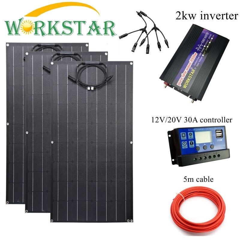 Workstar ETFE 100w Panel Solar Flexible 3 uds ETFE del Panel Solar 12V Cargador Solar 300W sistema solar con 2kw inversor