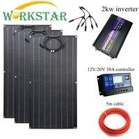 Workstar ETFE 100w Flexible Solar Panel 3pcs ETFE Solar Panel 12V Solar charger 300W solar system with 2kw inverter