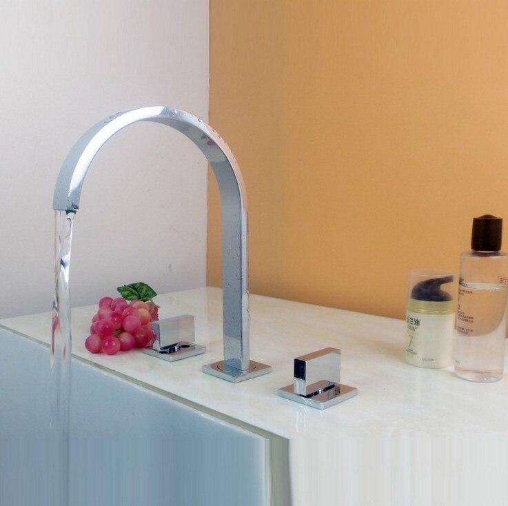 Robinet de lavabo en laiton noir/or/Chrome pont monté carré salle de bains évier mitigeur robinet 3 trous Double poignée robinet d'eau chaude et froide - 5