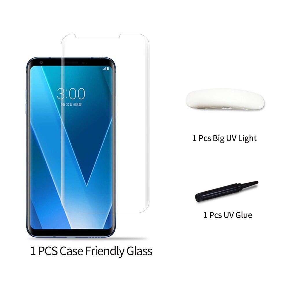 50 pcs/100 pièces pleine colle verre trempé Film pour LG V30 couverture plein écran 3D UV lumière Nano liquide Sceen Film protecteur