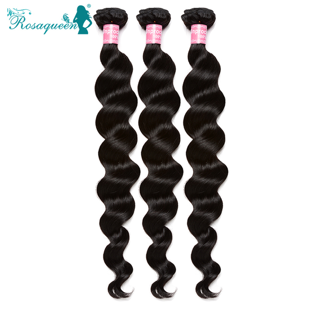 6A Indian Virgin Hair Loose Wave Human Hair Extensions Indian Loose curly Wave 3Pcs/Lot Rosa Queen Hair Products Natural Color