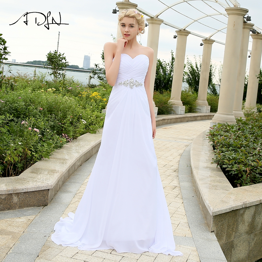 ADLN Real Model Beach Wedding Dress Sweetheart Pleats Crystal Belt Chiffon Wedding Dresses Plus Size robe